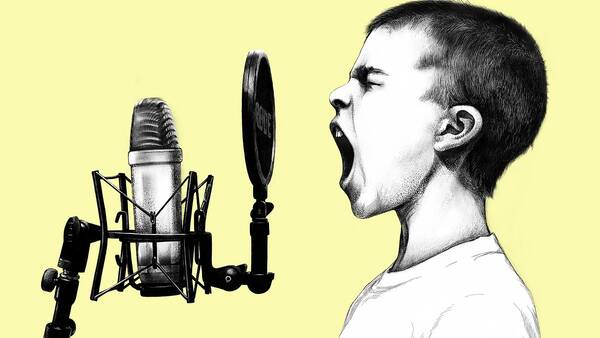 Extrovert singing karaoke