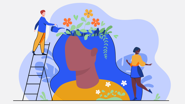 watering the flower garden in your head mental wellbeing illustration